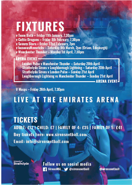Strathclyde Sirens 2019 Home Fixtures