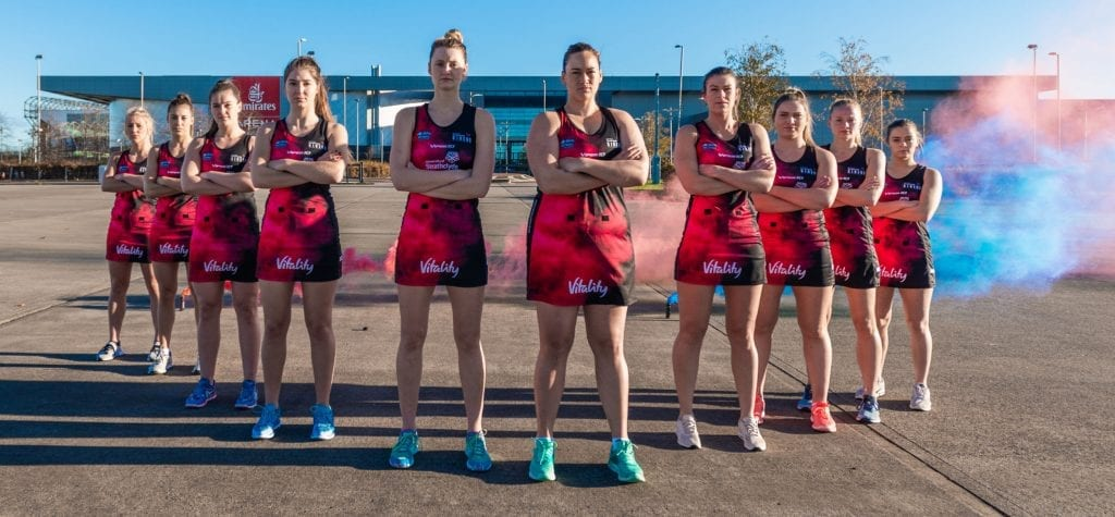 Scotland's semi-professional netballers, the Strathclyde Sirens, outside home venue, Glasgow's Emirates Arena